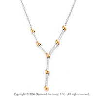 14k Two Tone Gold 30 Stone Prong Diamond Necklace